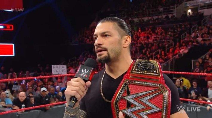 Roman Reigns breaking announcement on Monday Night Raw last night